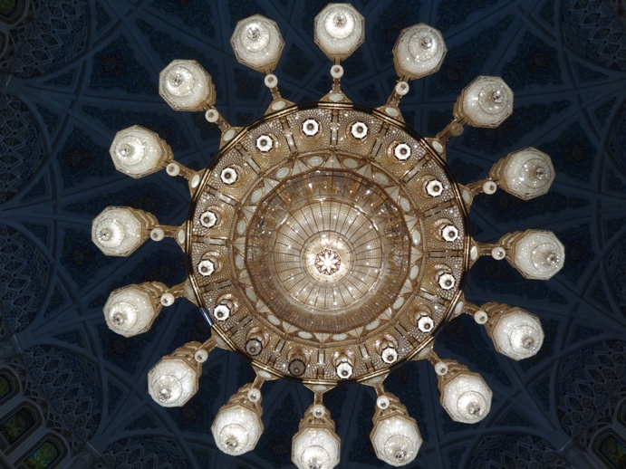 Grand mosque chandelier round angle