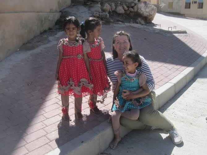 Valentina with local girls in wadi Arbieen
